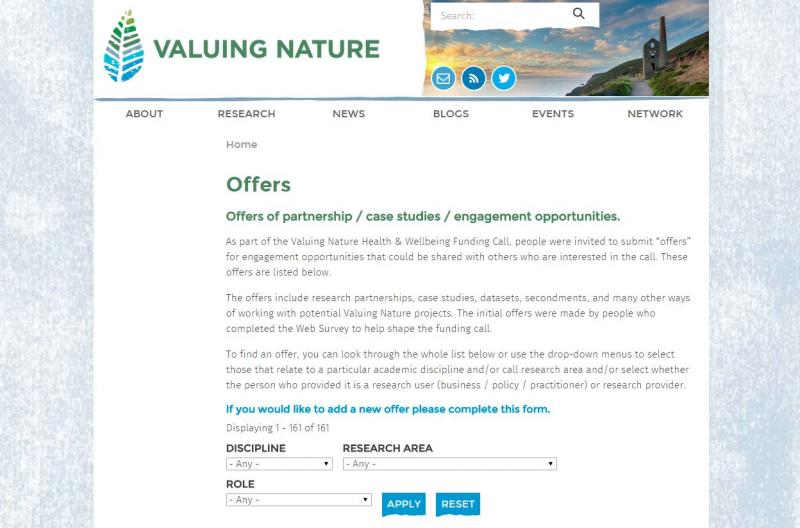 Valuing Nature Offers page